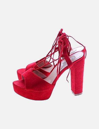 Sandalia tacón roja