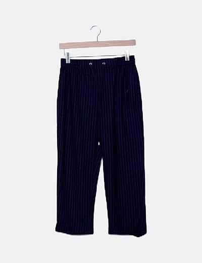 Pantalón baggy azul marino raya diplomática