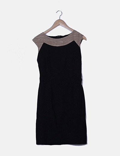 Vestido bicolor detalle glitter