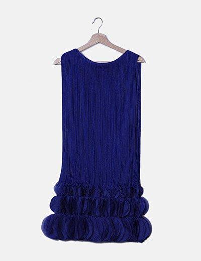 Vestido combinado azul con flecos