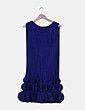 Vestido combinado azul con flecos Casa de vestidos