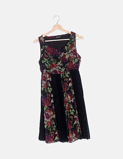 Vestido plisado print floral