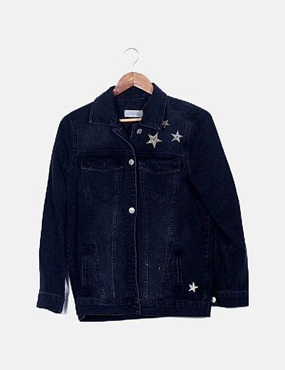 Chaqueta denim negra estrellas