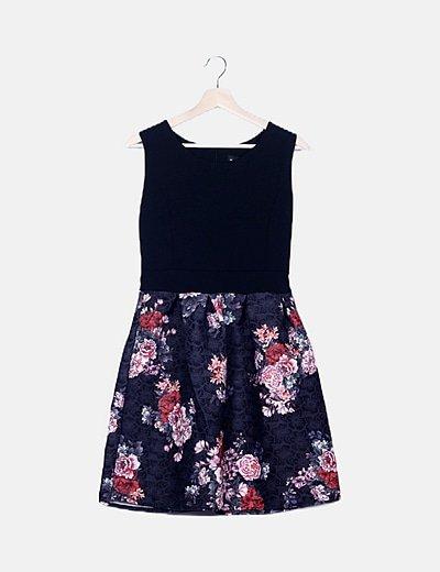 Vestido combinado multicolor floral