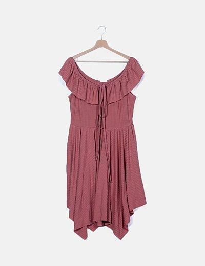 Vestido rosa combinado lace up