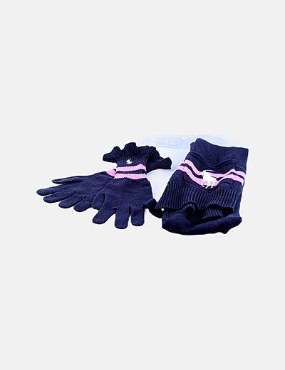 Pack guantes y bufanda azul marino