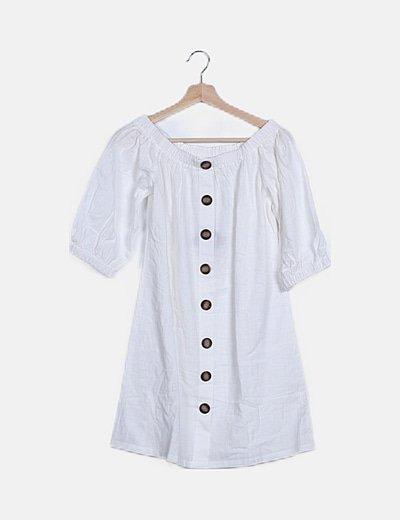 Vestido blanco detalle botonadura
