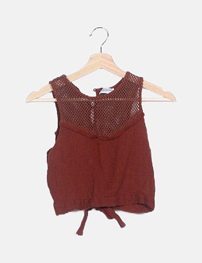 Crop top marron red