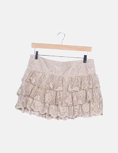 Falda mini beige encaje