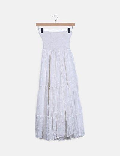 Vestido blanco detalles palabra de honor