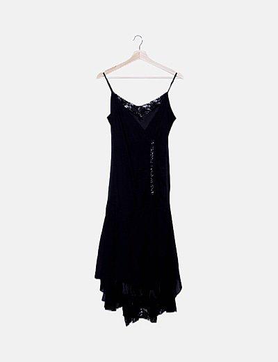 Vestido gasa negro drapeado