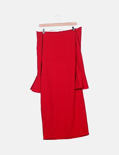 Vestido rojo lace up escote bardot