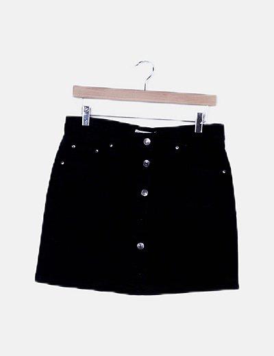 Falda mini negra botones