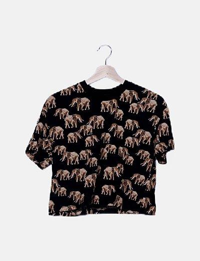 Crop top print elephants