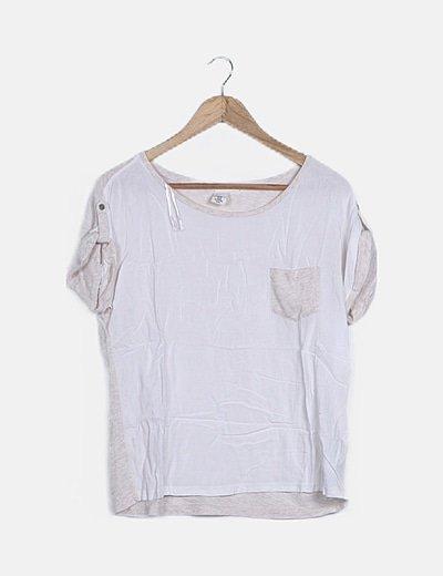 Camiseta blanca ribete jaspeado