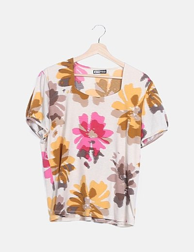 Camiseta multicolor estampado floral