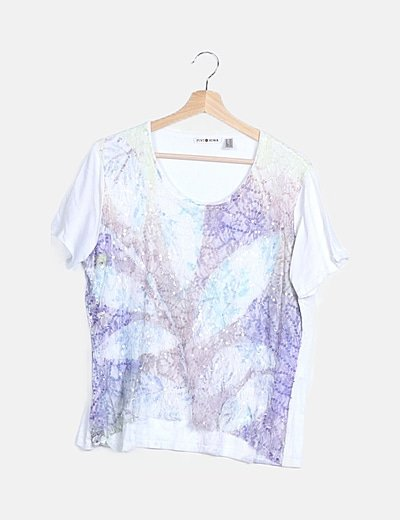 Camiseta multicolor detalle paillettes