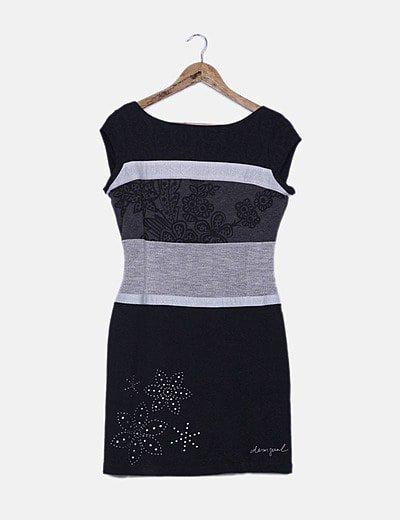 Vestido bicolor estampado combinado