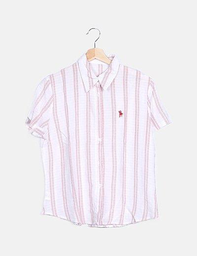 Camisa fluida de rayas bicolor