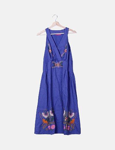 Vestido maxi azul marino bordado floral
