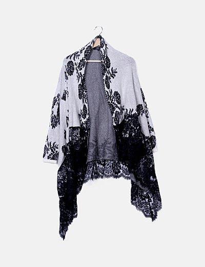 Cardigan tricot bicolor estampado