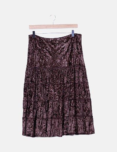 Falda marrón terciopelo