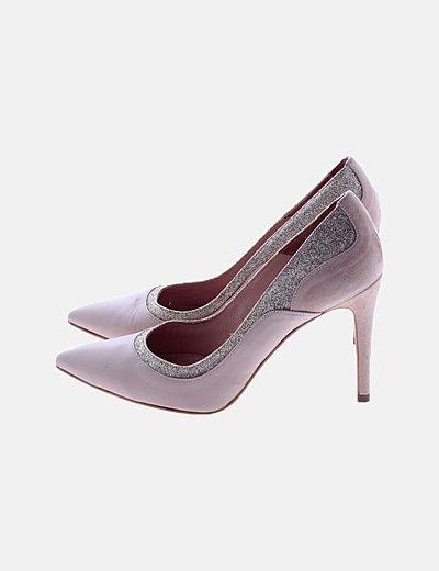 Zapatos nude ribete glitter