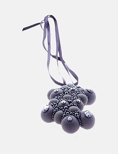 Colgante bolas gris con strass