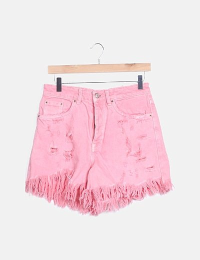 Short denim rosa ripped
