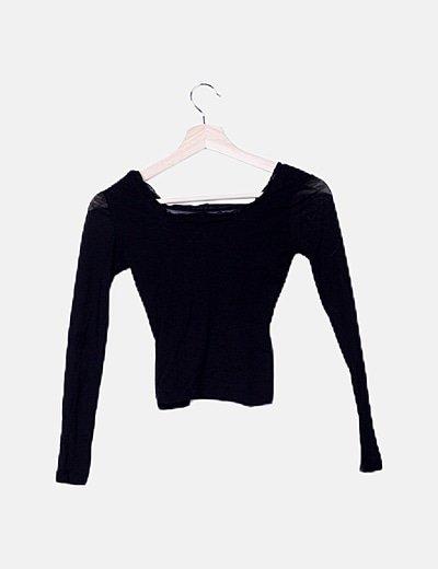 Suéter semitransparente negro