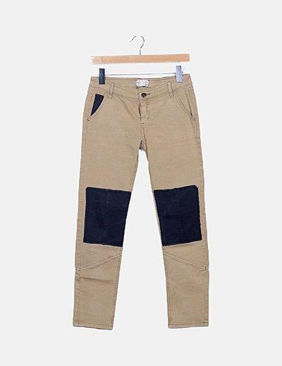 Pantalón denim bicolor
