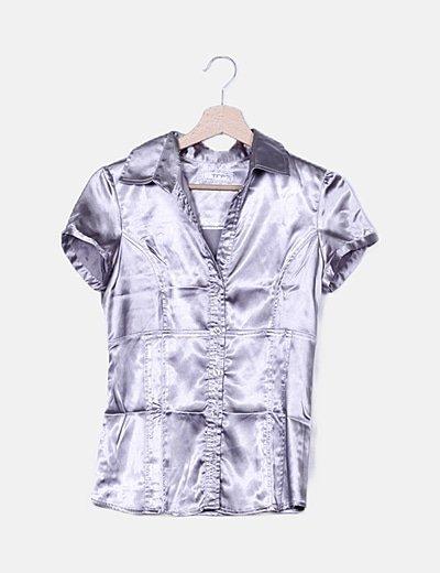 Camisa gris satinada