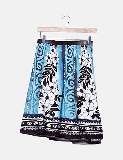 Falda bicolor print floral