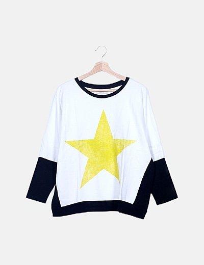 Sudadera oversize tricolor print estrella