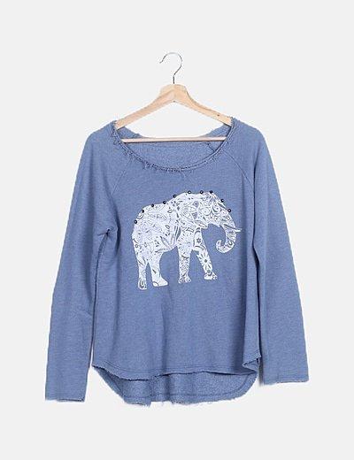 Jersey azul print elefante detalle tachas