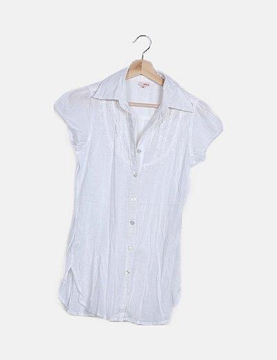 Camisa blanca abotonada manga corta