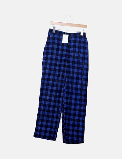 Pantalón de pana cuadros azules