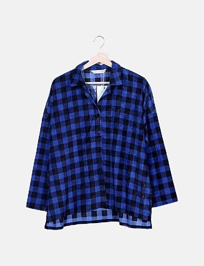 Camisa de pana cuadros azules