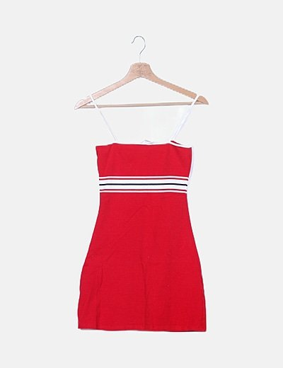 Vestido tirantes franjas rojo