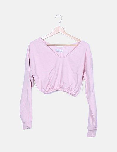 Sudadera crop rosa palo