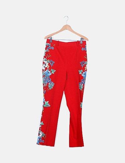 Pantalón rojo paperbag estampado floral