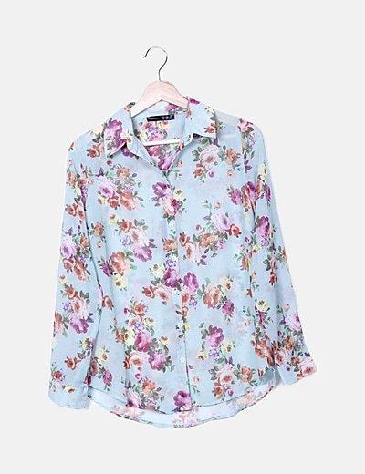 Camisa turquesa semitransparente print floral