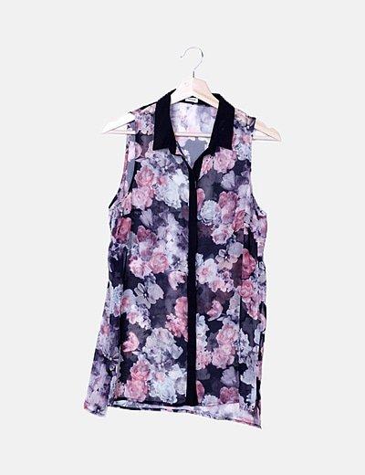 Camisa bicolor semitransparente print floral