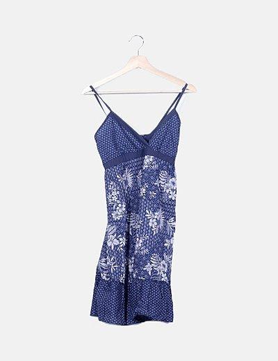 Vestido azul marino floreado
