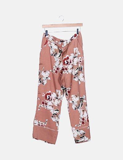 Pantalón marrón floral satinado
