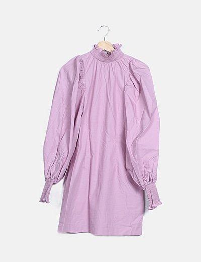 Vestido lila manga abullonada