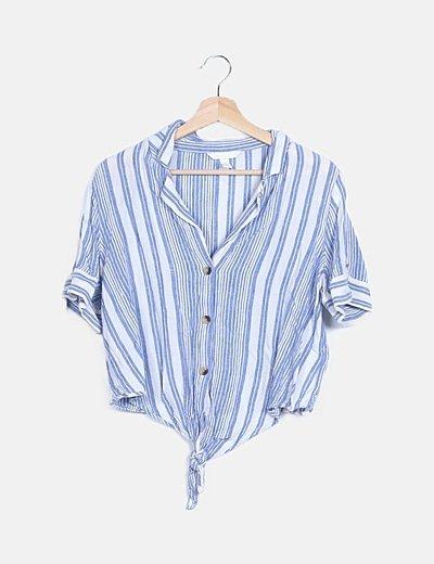 Camisa bicolor rayas detalle nudo