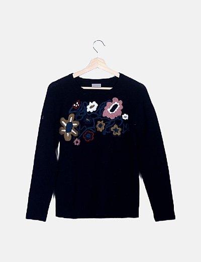 Jersey tricot negro dibujo
