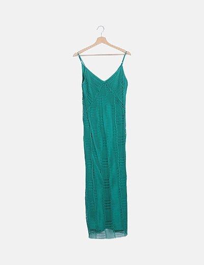Maxi vestido verde calado