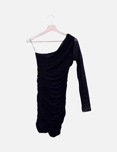 Vestido negro detalle semitransparente
